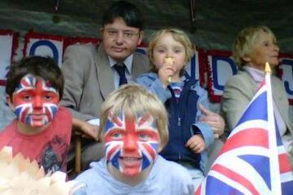 Diamond Jubilee 2012: Opening my village celebrations with a little help from my sons.