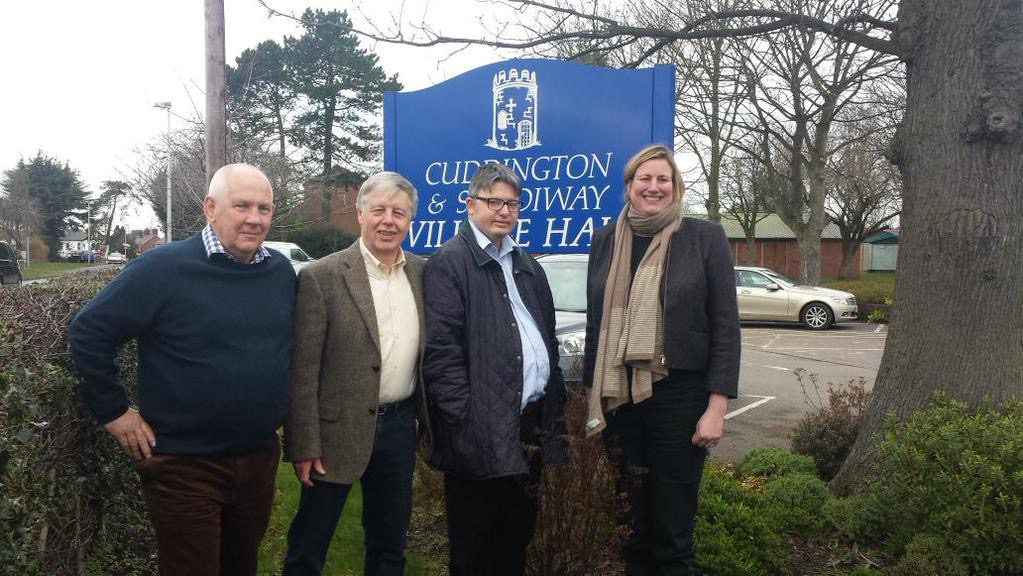 Cllrs Paul Williams, Harry Tonge & Charles Fifield with Antoinette Sandbach MP in Cuddington & Sandiway