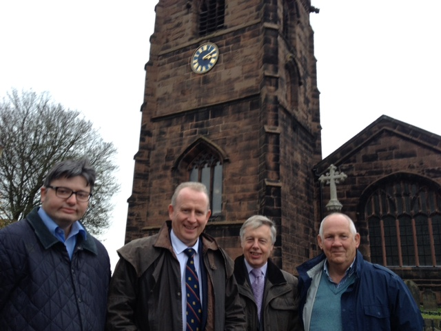 Cllr Charles Fifield with Graham Evans MP, Cllrs Harry Tonge & Paul Williams in Weaverham 2015